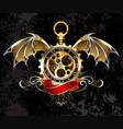 clock with dragon wings vector image vector image
