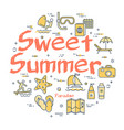colorful icons in sweet summer beach rest vector image vector image