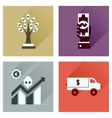 Concept flat icons with long shadow banking vector image vector image