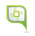 currency exchange icon on green map pointer vector image