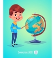 Cute boy with globe Back to school vector image