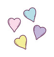 cute hearts floating pastel colors vector image