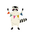 cute raccoon standing with party flags forest vector image