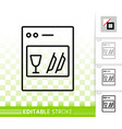 dishwasher simple black line icon vector image