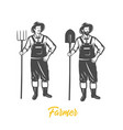 farmer black and white vector image vector image