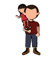 father with daughter avatars characters vector image