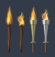 fire torch realistic flame torches olympic vector image