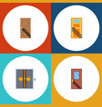 flat icon approach set of entrance exit door and vector image vector image