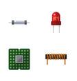 flat icon device set of resistor recipient unit vector image vector image
