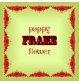 Frame with garland red poppy flowers and leaves vector image vector image