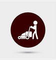 gardener with lawn mower icon simple gardening vector image vector image