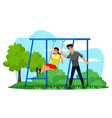 girl and boy friend having fun on swing in park vector image vector image