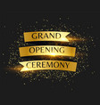 grand opening ceremony golden invitation vector image vector image