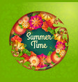 green background with floral frame and vector image vector image