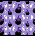 halloween witch cat and ghost seamless pattern vector image