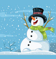 happy snowman winter cartoon vector image