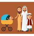 happy young arab family with a newborn vector image