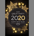 hapy new 2020 year poster template with shining vector image vector image