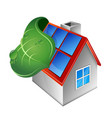 house with solar panels and green leaf vector image vector image