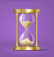 icon realistic golden bright hourglass watch vector image