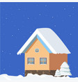 isolated winter landscape on a blue square vector image
