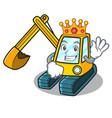 king excavator mascot cartoon style vector image vector image