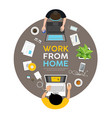 man and woman work from home on desk vector image