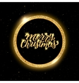 Merry Christmas lettering in golden frame vector image