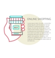 mobile shopping button line design vector image vector image