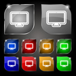 monitor icon sign Set of ten colorful buttons with vector image vector image