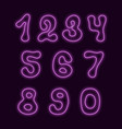 neon style numbers with hand drawn symbol shapes vector image