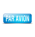 par avion blue square 3d realistic isolated web vector image vector image