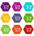 percent trolley icons set 9 vector image vector image