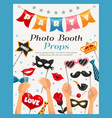 photo booth party props poster vector image vector image