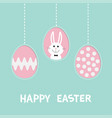 rabbit hare with tie bow three painting egg shell vector image vector image
