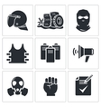 Riots in the street Icons set vector image vector image