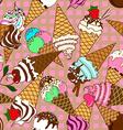 Seamless pattern of ice cream corn vector image