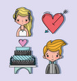 set bried and groom with pastel and heart with vector image vector image
