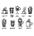 set cups coffee in vintage style take away vector image