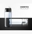 set transparent deodorant bottles on table vector image