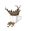 splash in a cup coffee vector image vector image