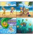 Summer fun on beach Children are playing on vector image vector image
