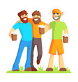 three friends with bushy beards drinking beer vector image vector image