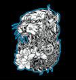 tiger naga lotus thailand tattoo drawing black vector image vector image