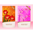 two cards with flower for invitations vector image vector image