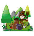 witch and elf with magic brew vector image vector image