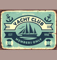 yacht club sign design with sailboat vector image