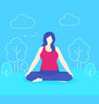 yoga plus size woman meditates in park vector image