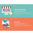Flat design icons of e-commerce symbols internet vector image