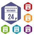 24 november calendar icons set vector image vector image